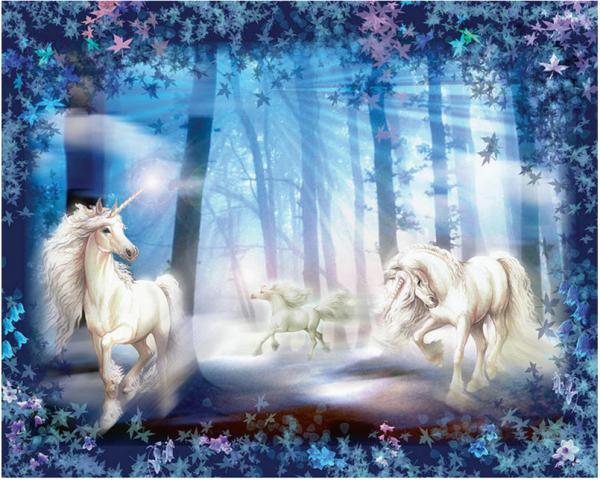 Photo of White Unicorn Forest Diamond Painting Kit Design