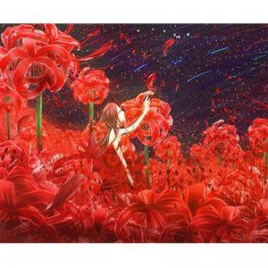 Photo of Sea of Red Flowers Diamond Painting Design