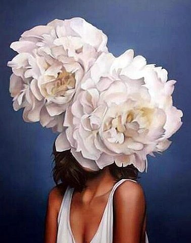 Double White Flower Hat