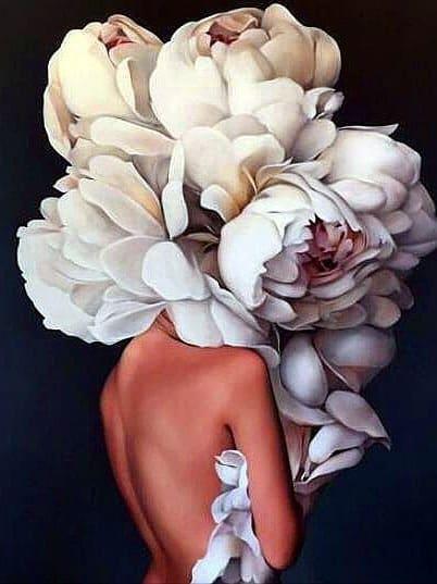 White Flower Hat Diamond Painting Kit