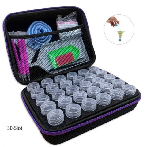 Diamond Painting Travel / Storage Case (zippered) 30-Slots + Accessories + Tools
